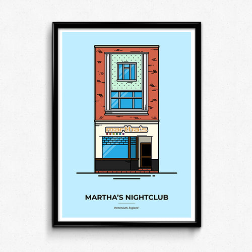 Martha's Nightclub - Portsmouth Travel poster designed by Christine Wilde at Vault 84