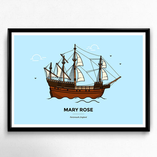 Mary Rose - Portsmouth Travel Poster, Portsmouth Gift, Pompey, Historical Dock Yard