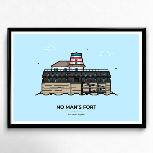 No Man's Fort, Solent Forts Portsmouth Travel poster designed by Christine Wilde at Vault 84