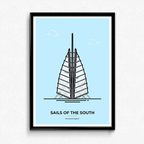 Sails of the South Poster, Portsmouth Travel Poster designed by Christine Wilde at Vault 84