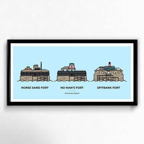 The Solent Forts 3 Piece Portsmouth Travel Poster, No Man's Fort, Spitbank Fort, Horse Sand Fort