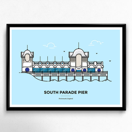 Portsmouth South Parade Pier travel poster, travelling print, wanderlust, travellers gift