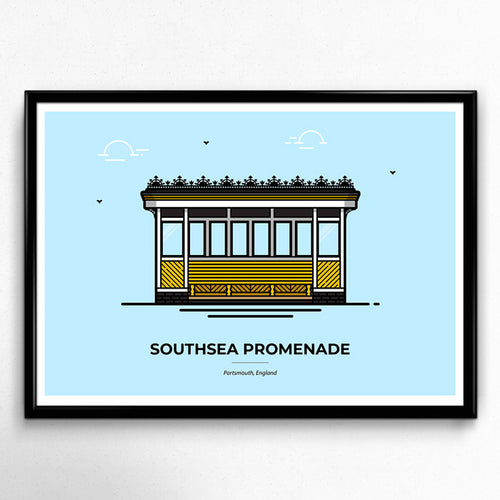 Southsea Shelters Portsmouth Travel Poster designed by Christine Wilde