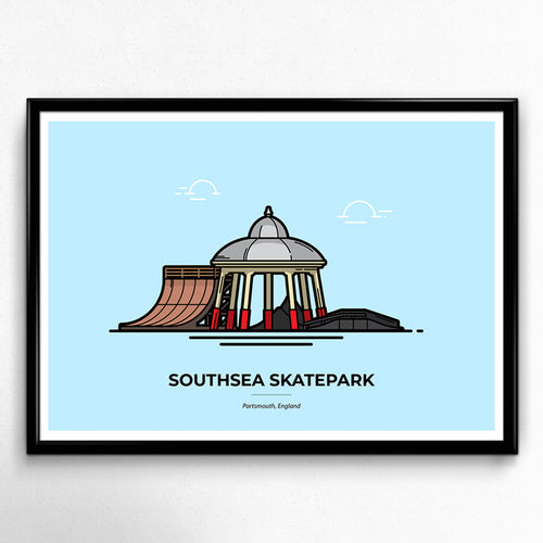 Southsea Skatepark - Portsmouth travel poster designed by Christine Wilde