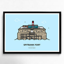 Load image into Gallery viewer, Spitbank Fort Poster, Palmerston's Follies, Solent, Portsmouth Travel Poster designed by Christine Wilde