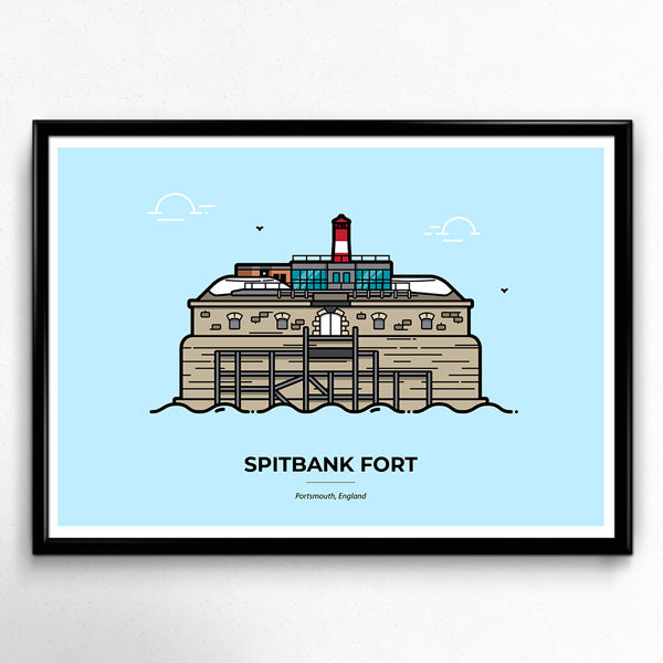 Spitbank Fort Poster, Palmerston's Follies, Solent, Portsmouth Travel Poster designed by Christine Wilde