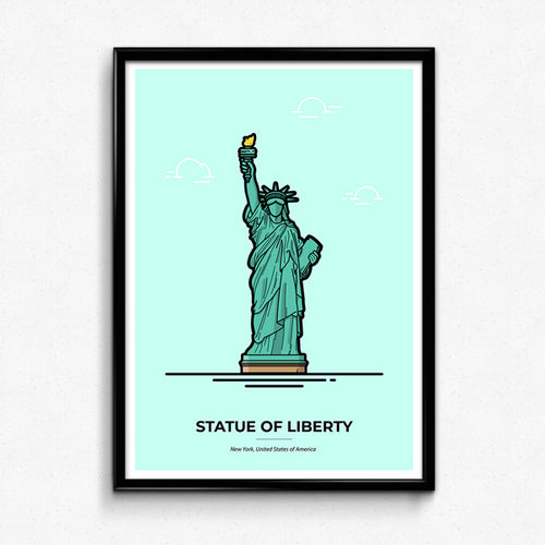 Statue of Liberty Poster, New York travel poster by Christine Wilde at Vault 84