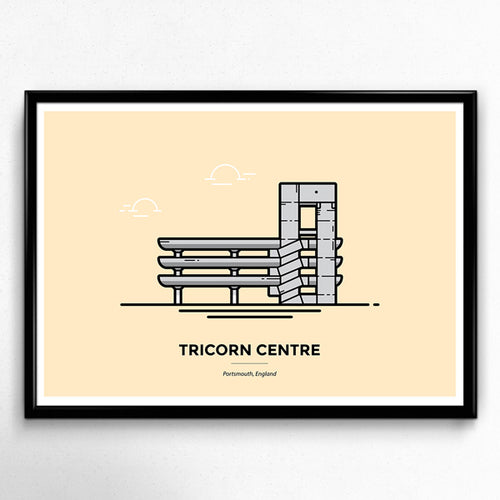 Portsmouth Tricorn Centre Travel Poster by Christine Wilde at Vault 84