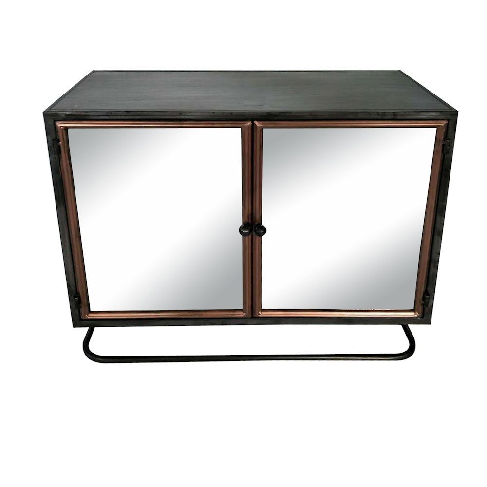 Alexander Copper Wall Cabinet With Mirrored Door