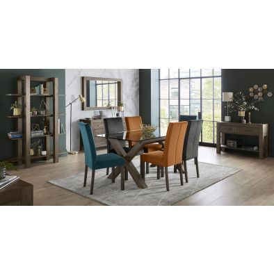 Kelsey 6 Seater Glass Top Table