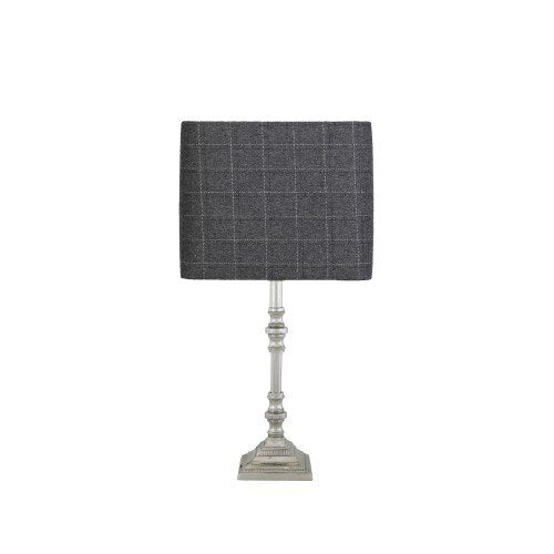 Small Nickel Candlestick With Tartan Grey Shade