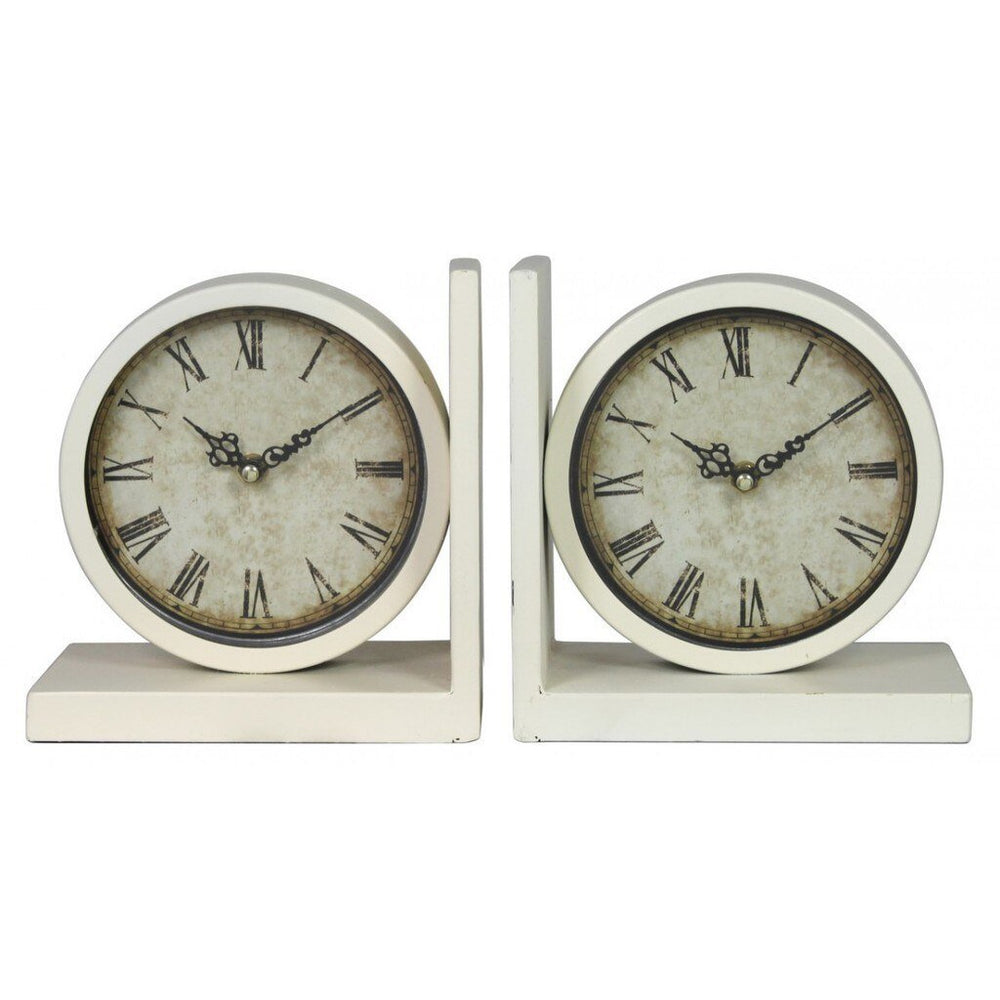 Set Of 2 Ivory Clock Book Ends