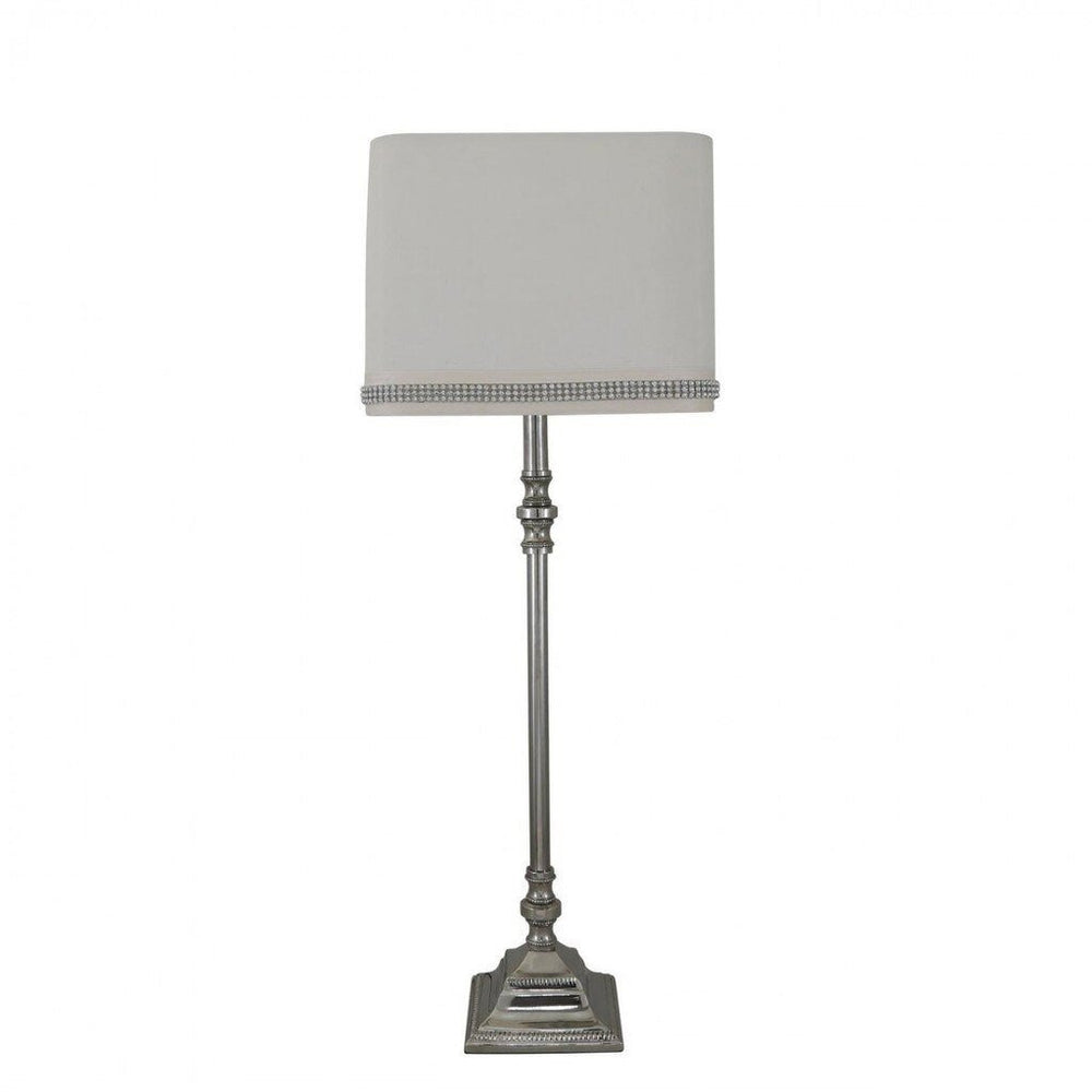 Chrome Candlestick Table Lamp With Cream Shade