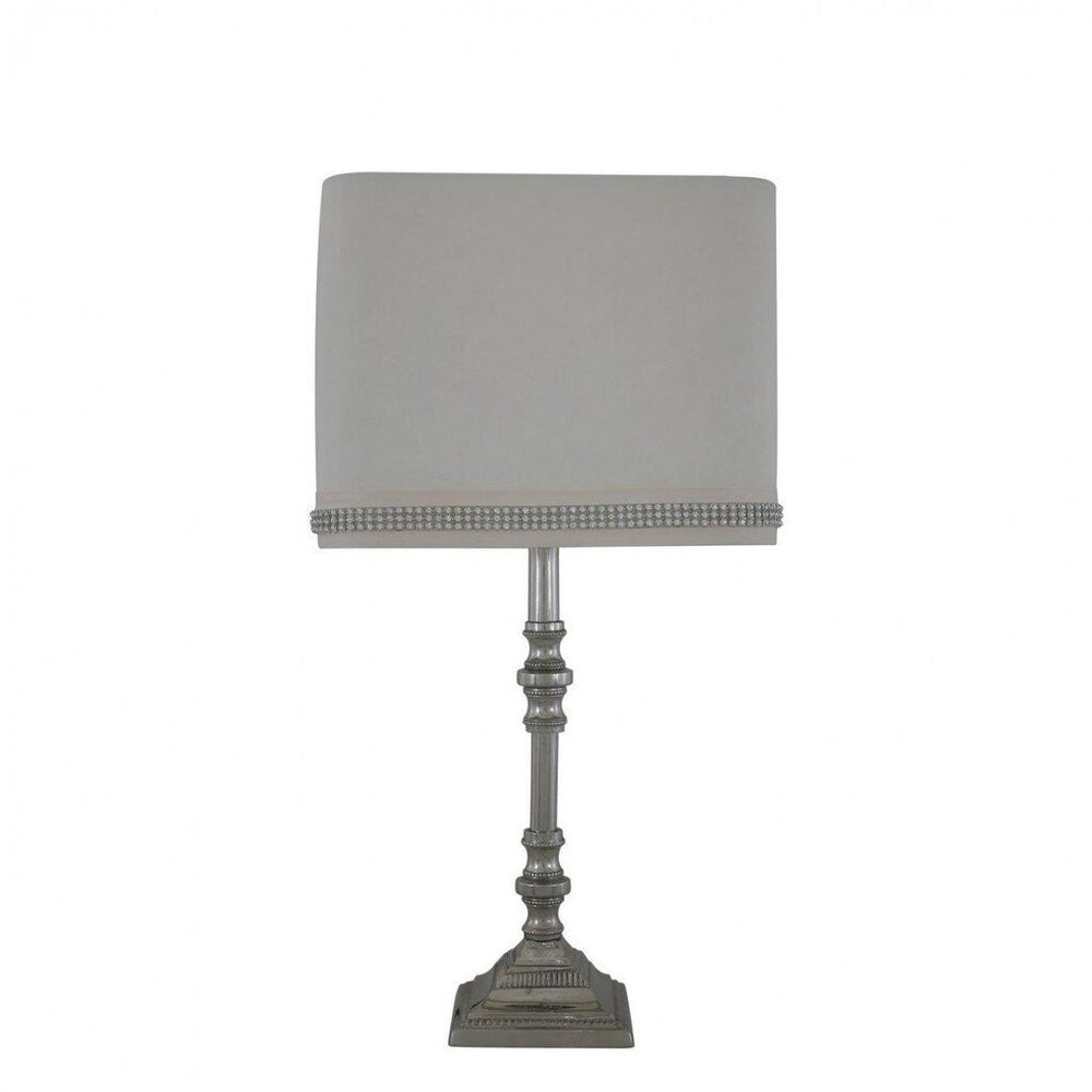 Small Chrome Candlestick Table Lamp With Cream Shade