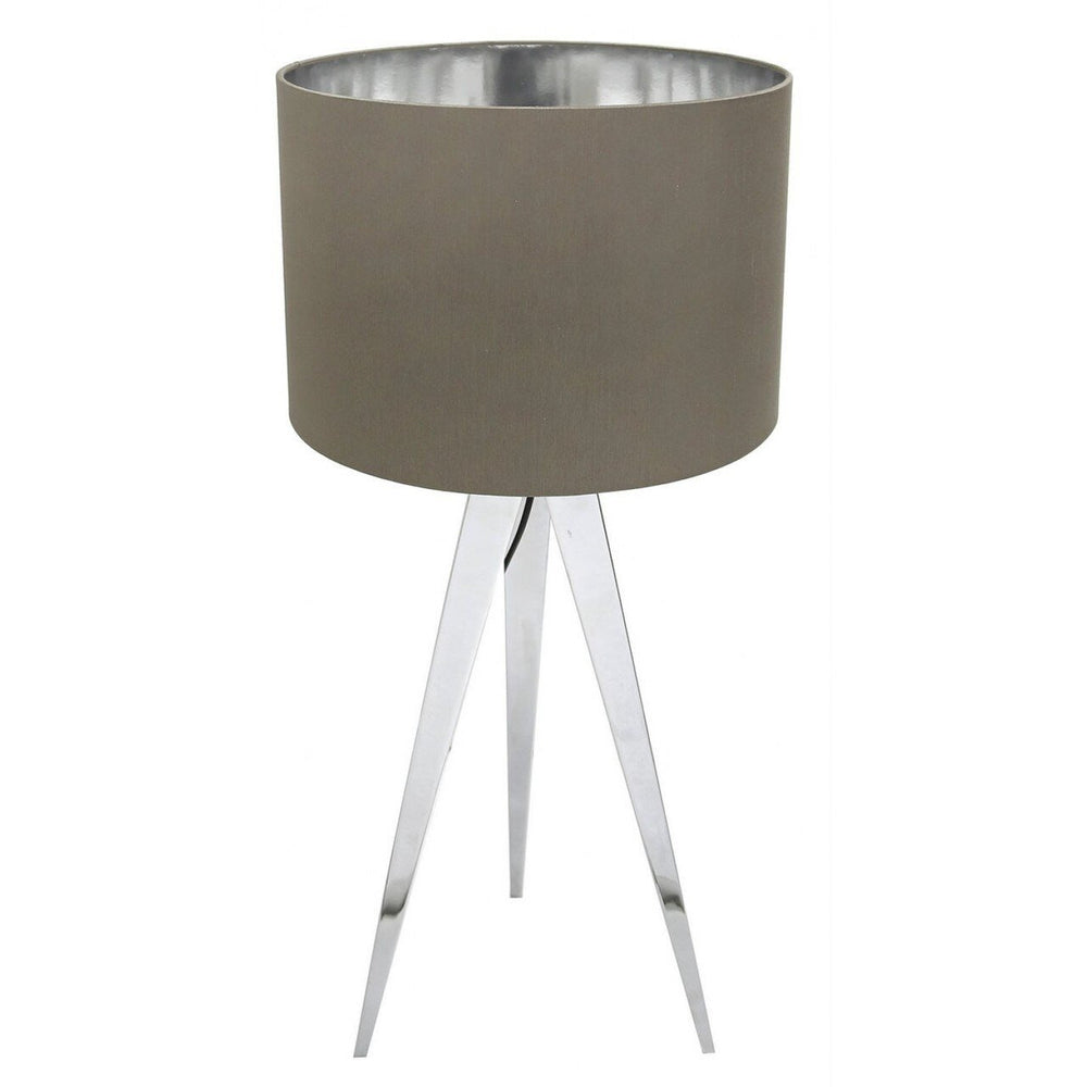 Chrome Table Lamp With Taupe Shade