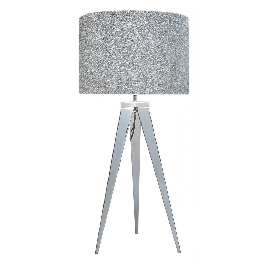 Chrome Table Lamp With 13 Inch Glitter Drum Shade