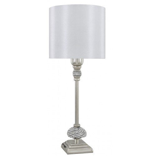 Nickel White Diamante Candlestick Table Lamp