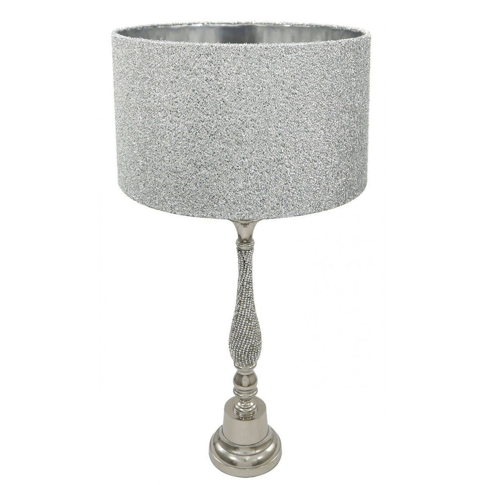 Nickel Diamante Candlestick Table Lamp With 16 Inch Glitter Shade