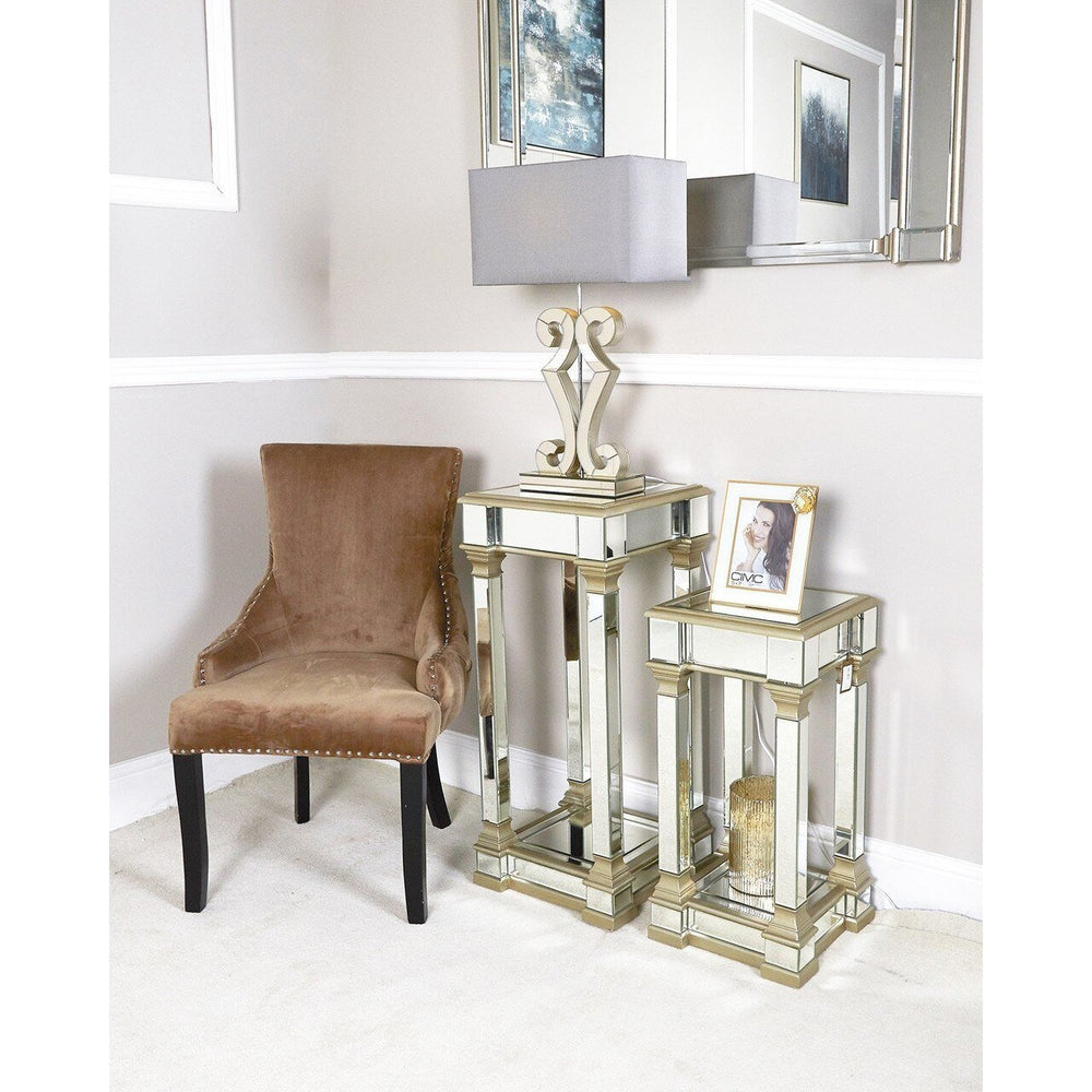 Medium Champagne Delta Mirror Telephone Table