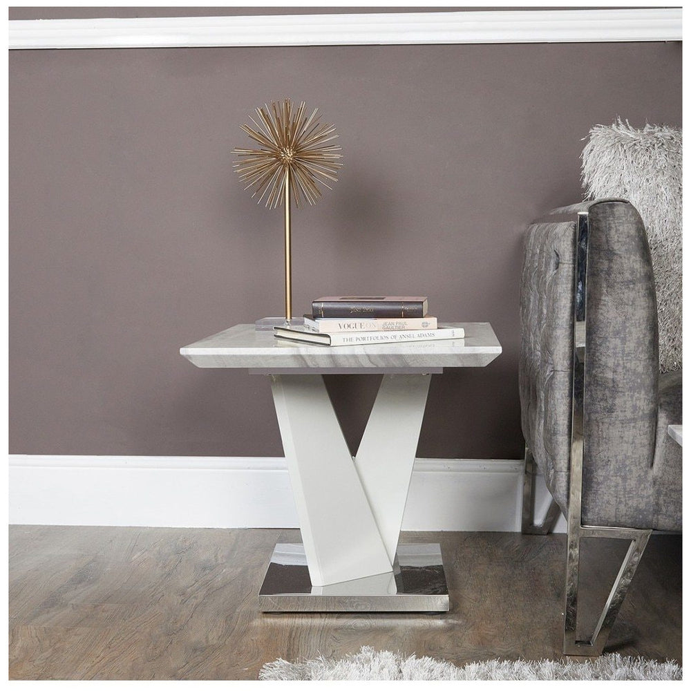 Aram Marble Effect End Table