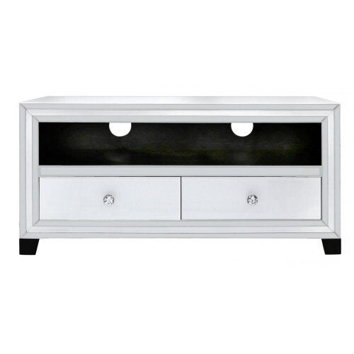 White Chicago Mirror 2 Drawer Entertainment Unit