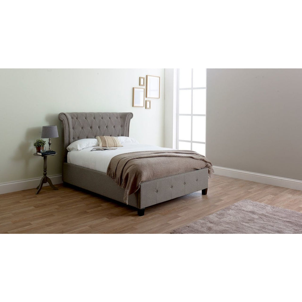Violet Double Bed (Grey Wool Textured Fabric)