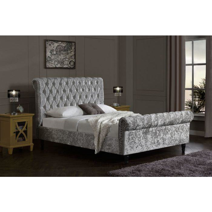 Logan Chesterfield Silver Velvet Super King Bed