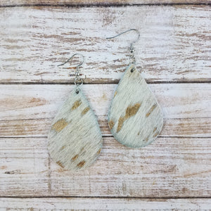 Gold Acid Wash Leather Drop Earrings