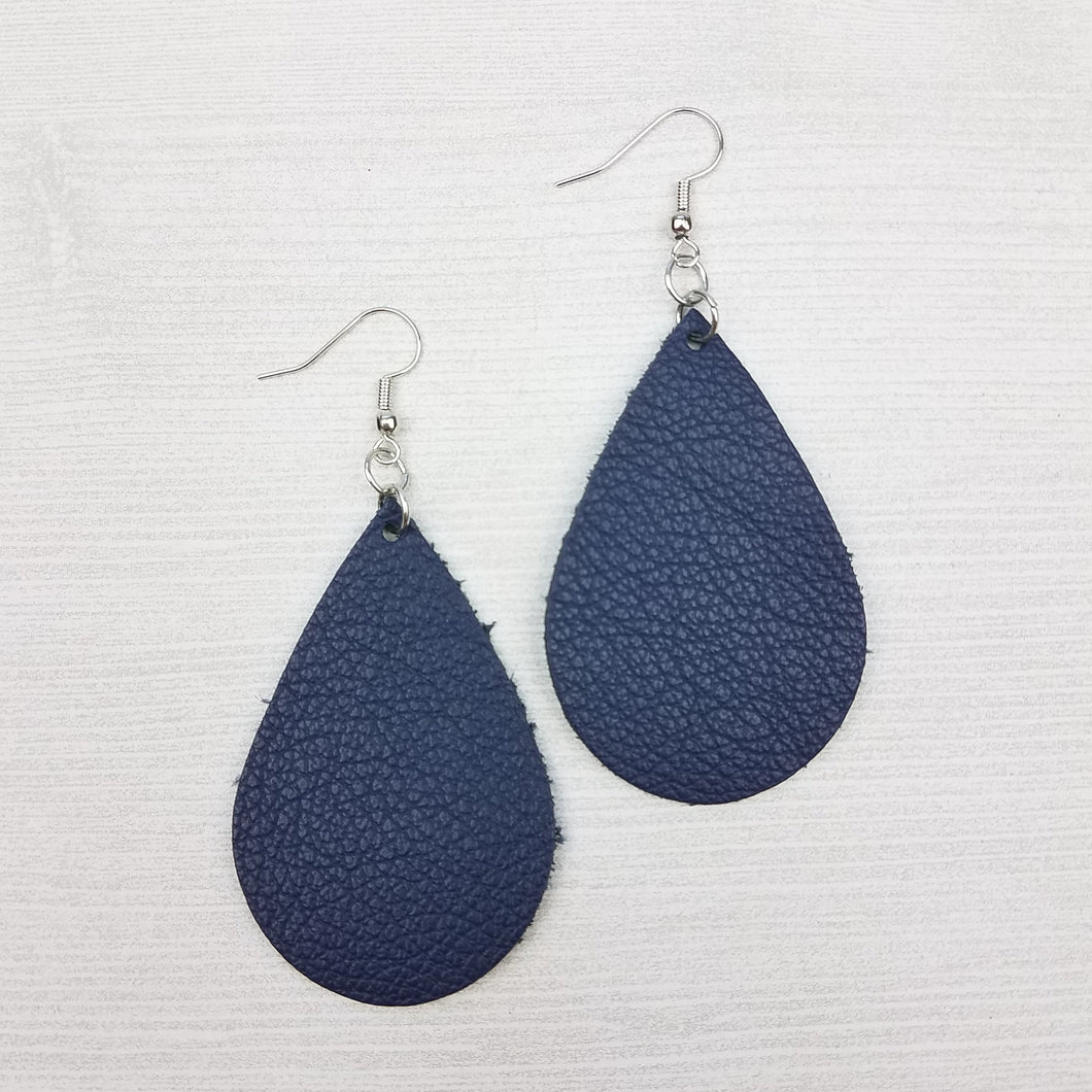 Navy Blue Leather Drop Earrings
