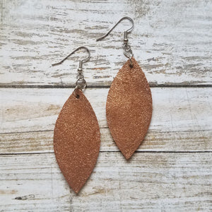 Copper Shimmer Leather Petal Earrings