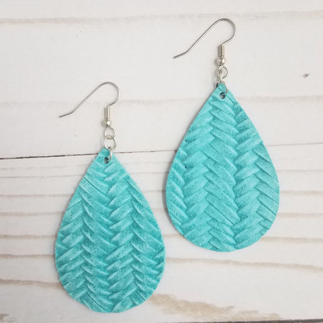 Cyan Blue Fishtail Braid Leather Drop Earrings