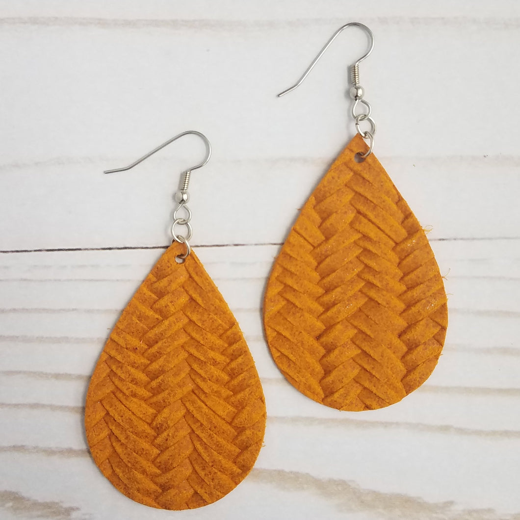 Mustard Fishtail Braid Leather Drop Earrings