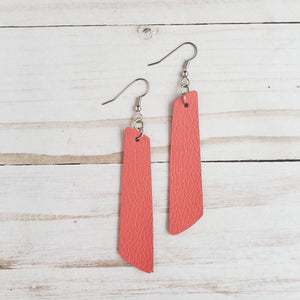 Coral Leather Bar Earrings