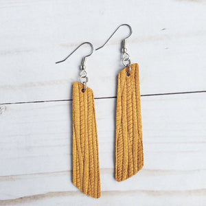 Mustard Palm Leather Bar Earrings