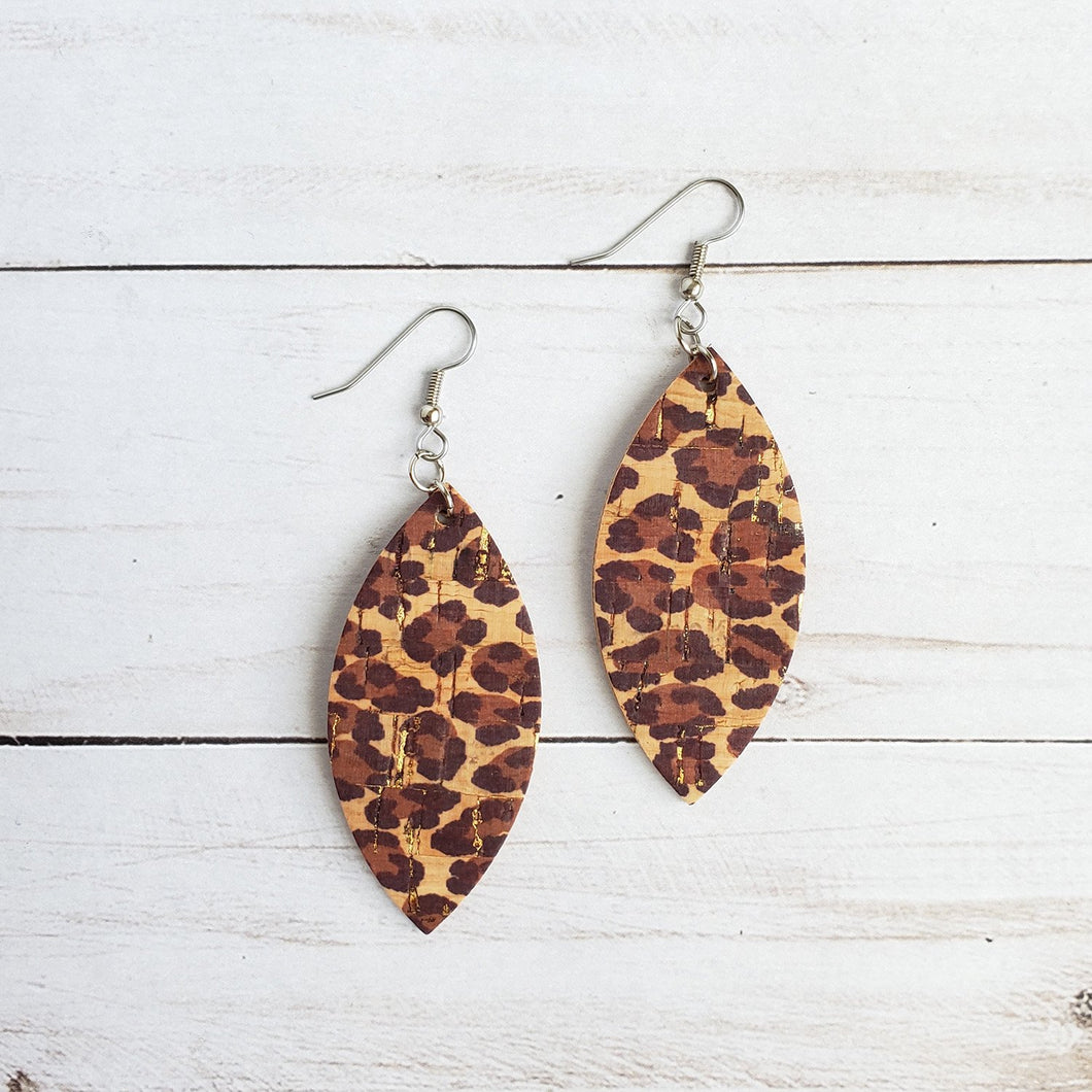 Leopard Print Cork Leather Petal Earrings