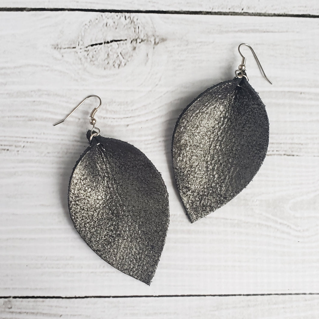 Distressed Black Leather Leaf Earrings