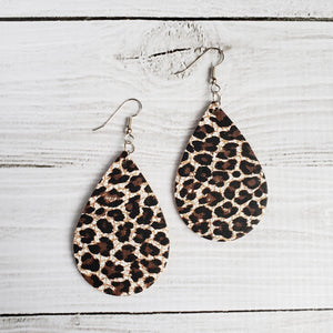 Chocolate Cheetahprint Cork - Leather Drop Earrings