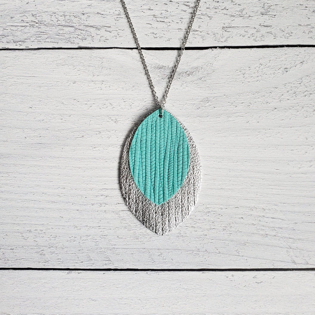 Cool Mint and Silver Fringe Necklace