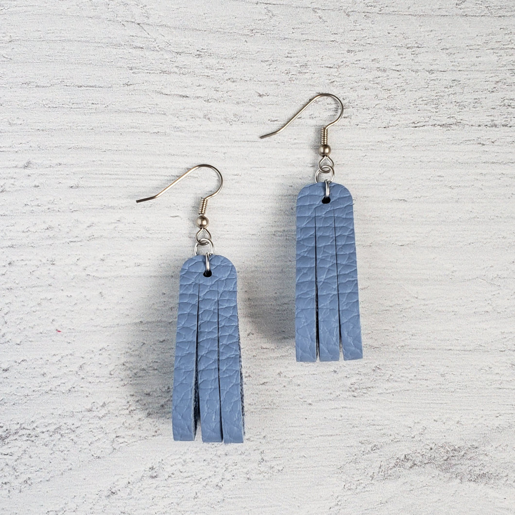 Baby Blue Mini Sliced Leather Earrings