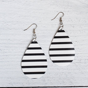 Black and White Stripes Leather Drop Earrings