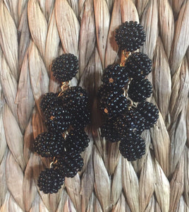 Black Multi Ball Beaded Cluster Statement Earrings