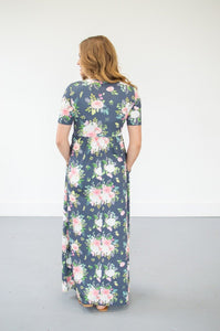 Steel Blue Floral Maxi | Nursing option available