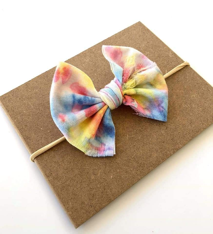Distressed Tie Dye Bows & Top Knots