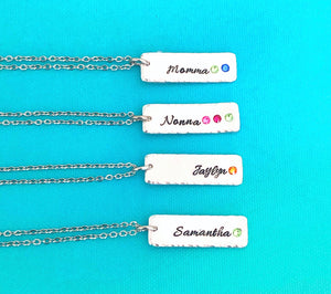 Personalized Stone Vertical Bar Necklace With Multiple Birthstones For Mother/ Grandmother Gift - Lasting Impressions CT