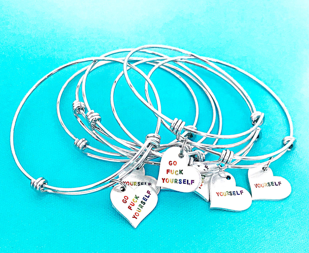 Snarky or Sweet Love Yourself or Go Fuck Yourself Rainbow Handstamped Bangle Charm Bracelet - Lasting Impressions CT
