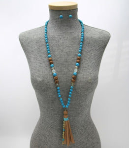 Long Natural Beaded Suede Tassel Necklace & Earring Set