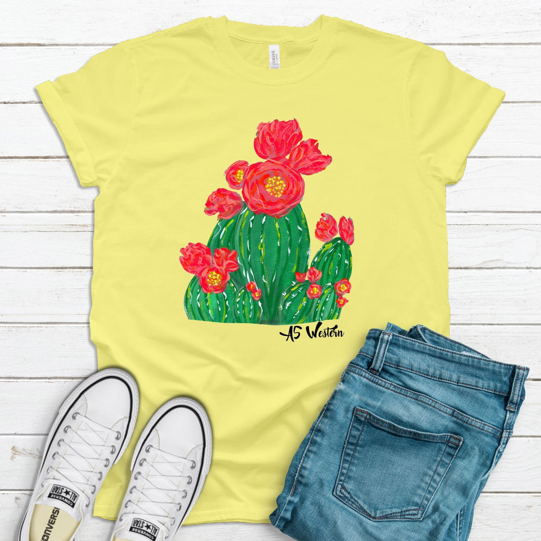 Coral Flower Cactus Yellow T-Shirt