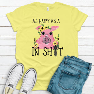 As Happy As A Pig In T-Shirt - Yellow/Black