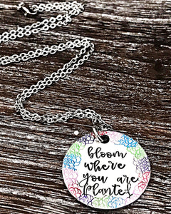 Bloom Where You Are Planted Hand Stamped Flower Necklace - Lasting Impressions CT
