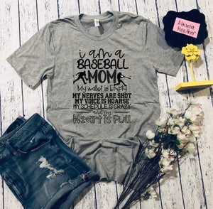 Baseball Mom Heart Is Full T-Shirt